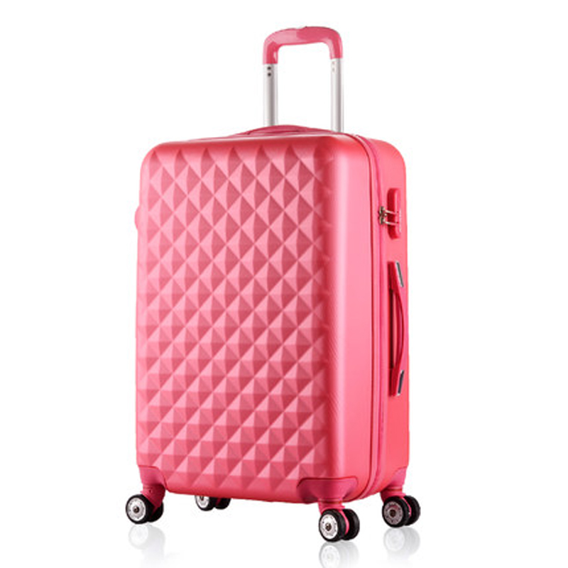 20 Inch Woman Travel Case Suitcases,diamond Luggage Travel Bag,ABS Travel Luggage,Rolling Luggage,Pink Suitcase On Wheels luggage