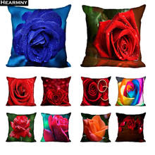 Custom Decorative Pillowcase Rose Flowers Square Zippered Pillow Cover 35X35 40x40 45x45cm One Side