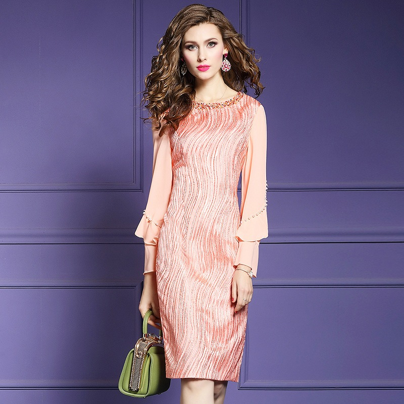 Office lady Beading dress 2019 new Spring Autumn Slim Package hip dresses plus size Butterfly Sleeve