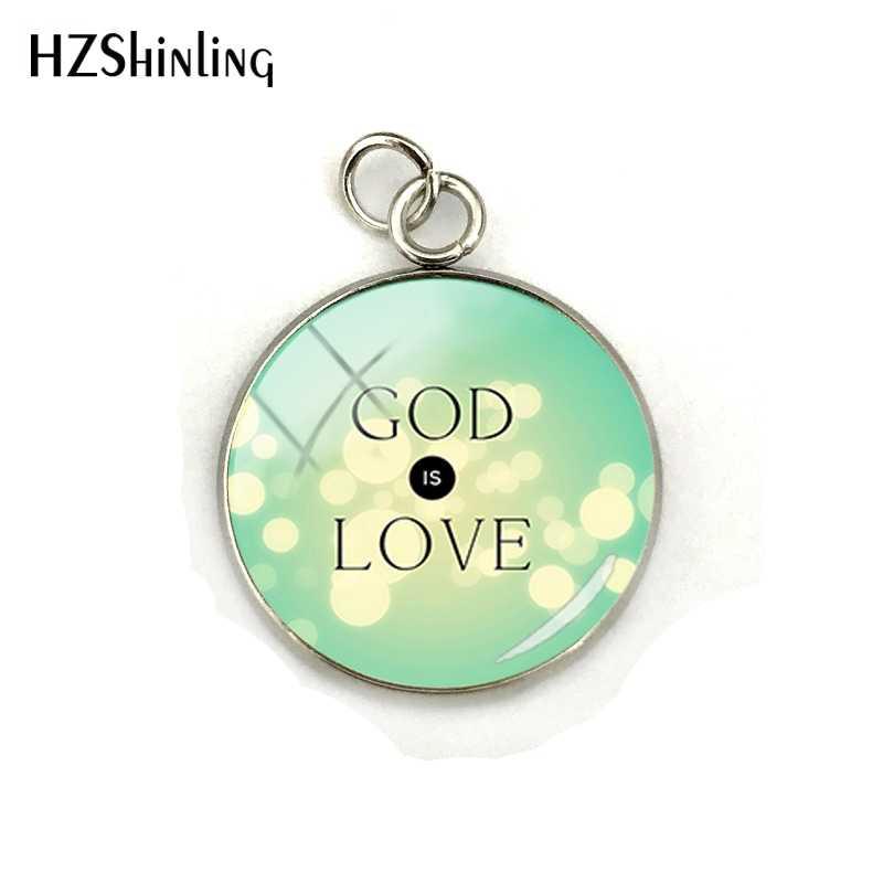 Deus é Amor Citações do Verso Da Bíblia Aço Inoxidável Banhado Pingentes Ofício Da Mão de Vidro Dome Jóias Encantos Presentes para Os Cristãos