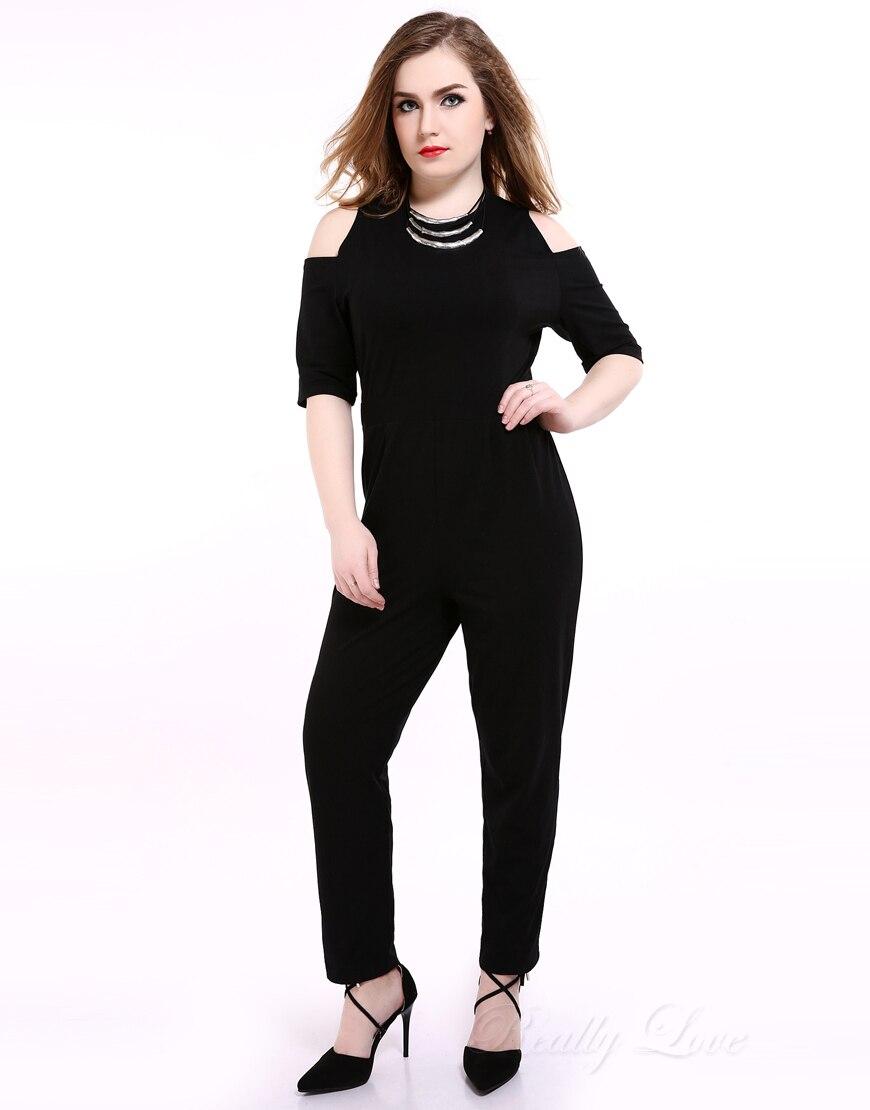 Милые Ann Для женщин офф-shouder Дизайн плюс Размеры черный Комбинезоны для женщин и Комбинезоны для малышек Половина рукава полной длины коктей...