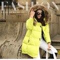 S-4XL Jaqueta de Inverno das Mulheres Para Baixo Casaco Feminino Outerwear Pele Real Colarinho Casual Sólidos Algodão Elegante Jaqueta Acolchoada Mulheres MC1036