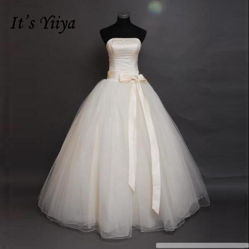 It's Yiiya Bow Waist Cheap Bride Ball Gowns White Strapless Wedding Dresses Real Photo Plus Size Vestidos De Novia MXXN011