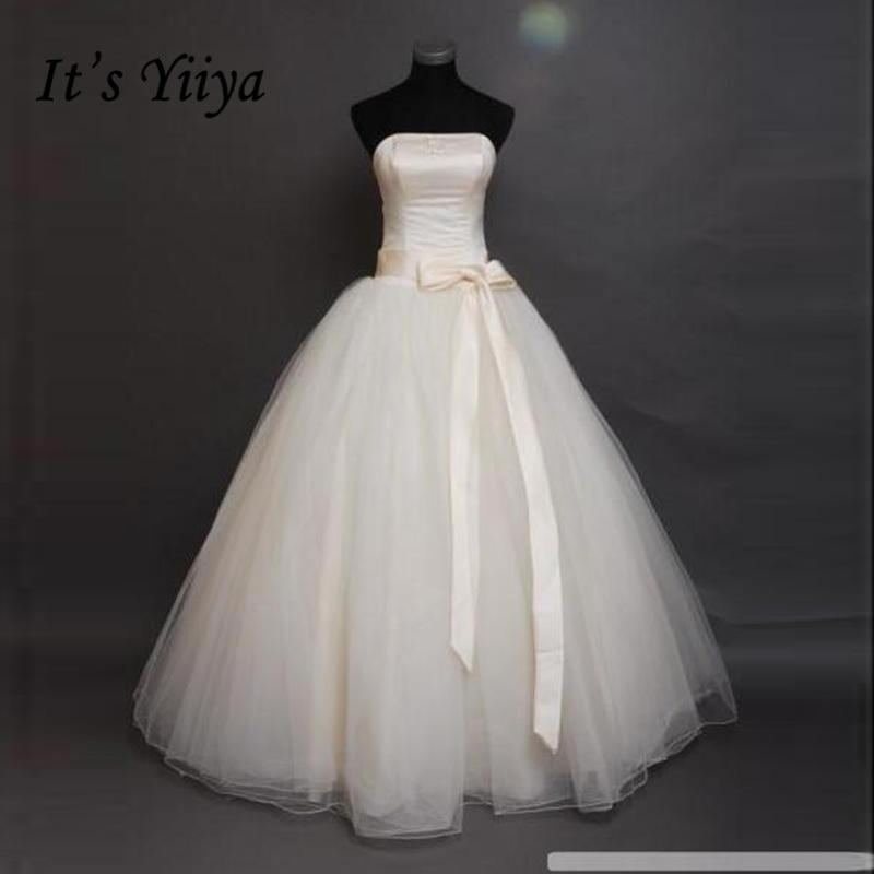 It's Yiiya Bow Waist Cheap Bride Ball Gowns White Strapless Wedding Dresses Real Photo Plus Size Vestidos De Novia MXXN011