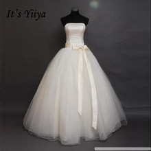 It's Yiiya Bow Waist Cheap Bride Ball Gowns White Strapless Wedding Dresses Real Photo Plus Size Vestidos De Novia
