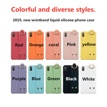 New liquid silicone wristband phone case For iphone XS MAX XR X 6 6s 7 8plus fashion solid color bracket soft shell back cover