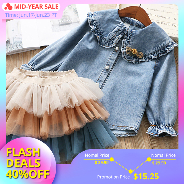 IYEAL Girls Clothing Sets 2019 New Spring Kids Clothes Long Sleeve Denim Shirts+Tutu Cake Skirt 2Pcs Children Toddler Outfit