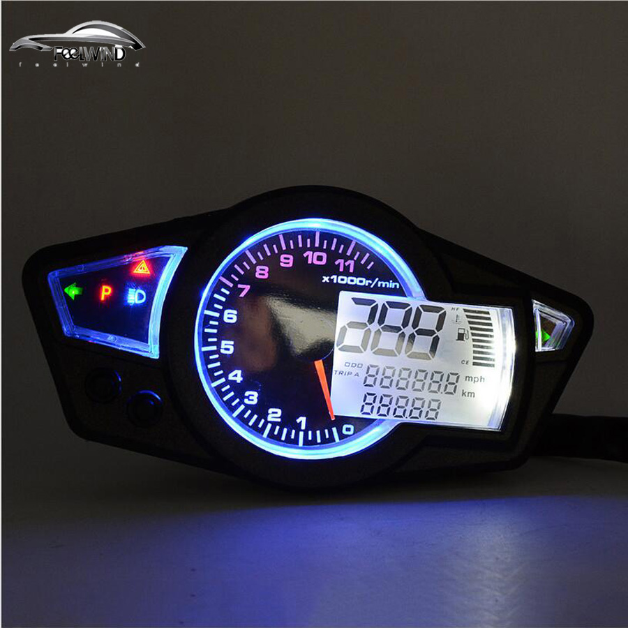 11000 rpm 12V LCD Digital Speedometer Tachometer Odometer Motorcycle Km/h Backlight for all motorcycle lacywear km 34 all