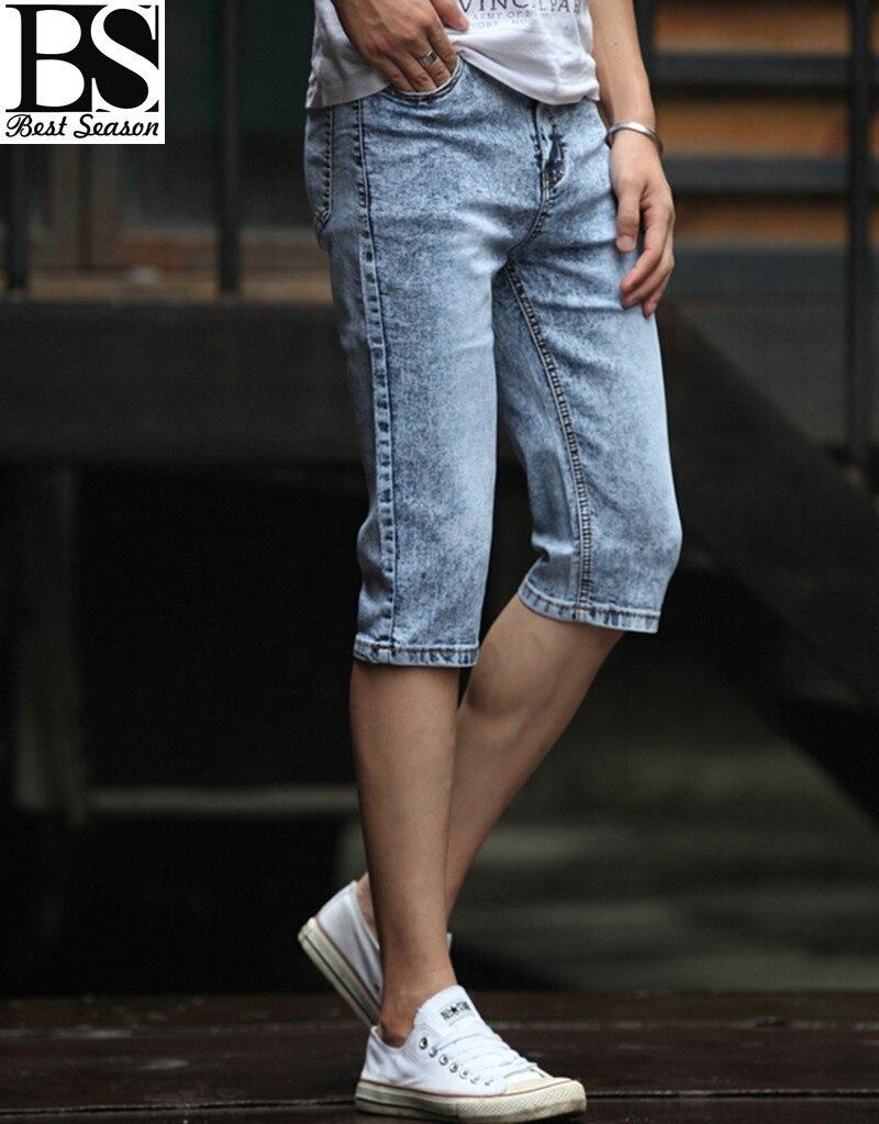 New 2015 Summer Jeans Capri Men Cheap Slim Straight Jeans Short ...