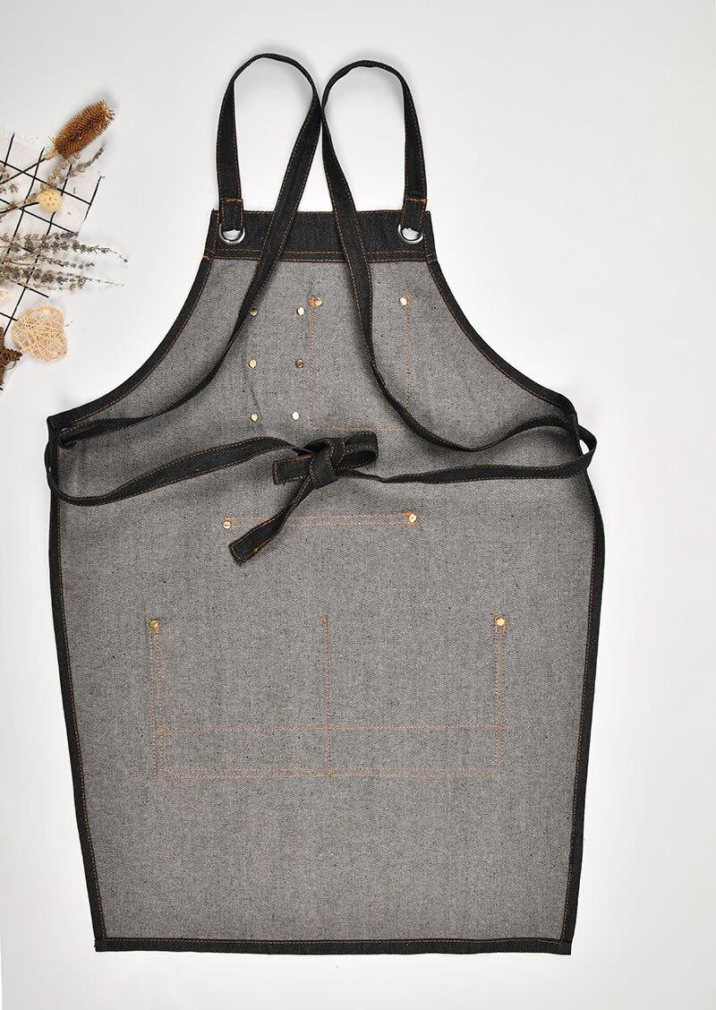 Джинсовый Кухонный Фартук с регулируемым хлопковым ремнем, большие карманы, синий бариста, мужская и женская домашняя одежда - 2