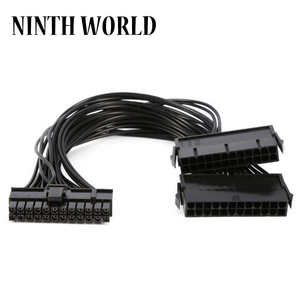 ATX 30cm 24 Pin Dual PSU Power Supply Extension Cable Synchronous Cord For Computer Cable Connector For Mining 24Pin 20+4pin 20pcs hot sale 30cm psu 24 pin atx to 10 pin male adapter convert 18awg power supply cable cord for lenovo motherboard