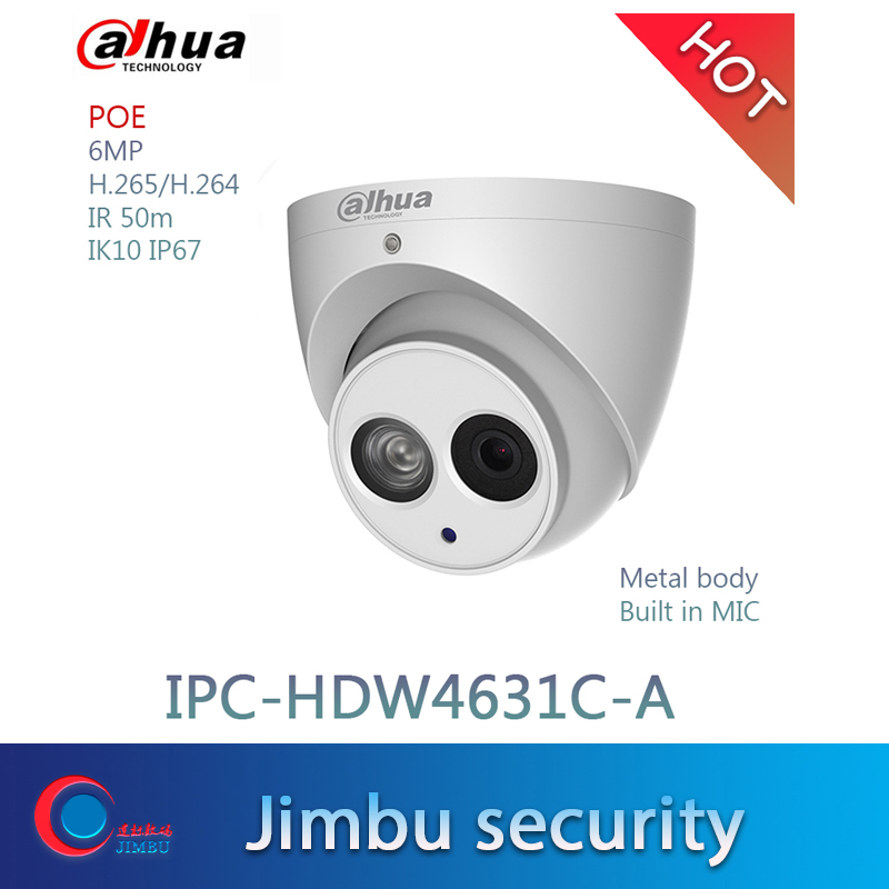 Dahua POE H 265 6MP IPC HDW4631C A Built in Mic CCTV Dome Mental Security Camera