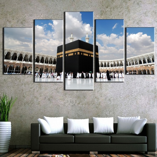 5 Pcs Hd Print Large Ic Kaaba Mecca Picture Modern Decorative Paintings On Canvas Wall Art For Home Decorations Decor