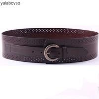 Yalabovso All match New arrivals Wide Waist Rivet Cowskin Belt 4colors patchwork Leather belt for Woman Dress or coat Y001Z2