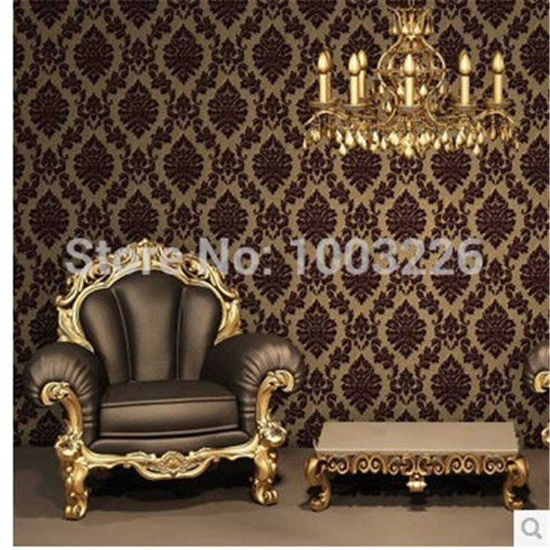 ФОТО beibehang Europe Classic Luxury Flocking DAMASK Velvet Wallpaper WallCoverings Roll For TV Background Wall Decor papel de parede