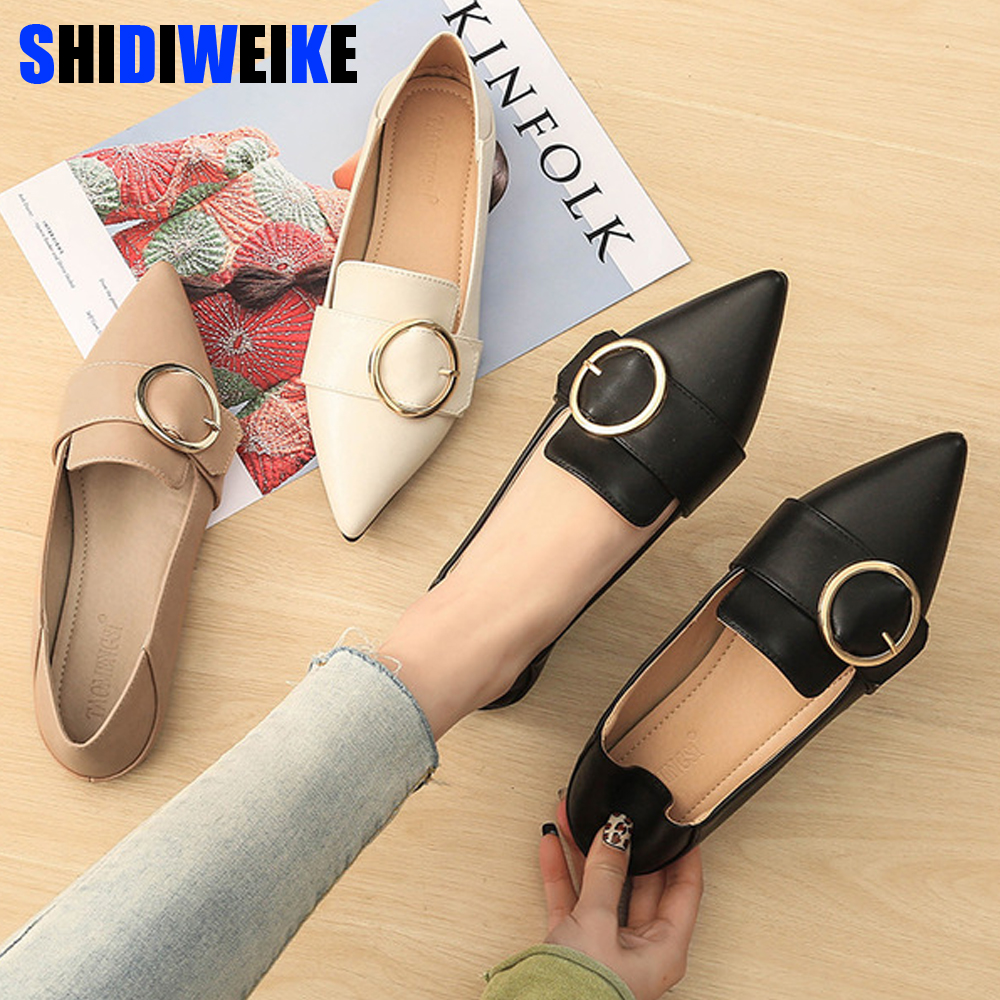 Spring New Women Flats Shallow Women Shoes with Pointed Toe Solid Causal Fashion Rubber Mujer Shoes g009