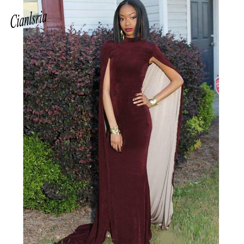 Sexy grande taille arabe robes de bal robes de sirène avec cape formelle robes de soirée bordeaux robes de bal