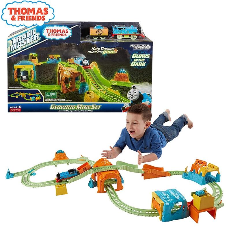 Original Thomas lueur sombre Trains piste petite Locomotive lumineuse Mine aventure ensemble Train moulé sous pression garçon jouets cadeaux pour enfants