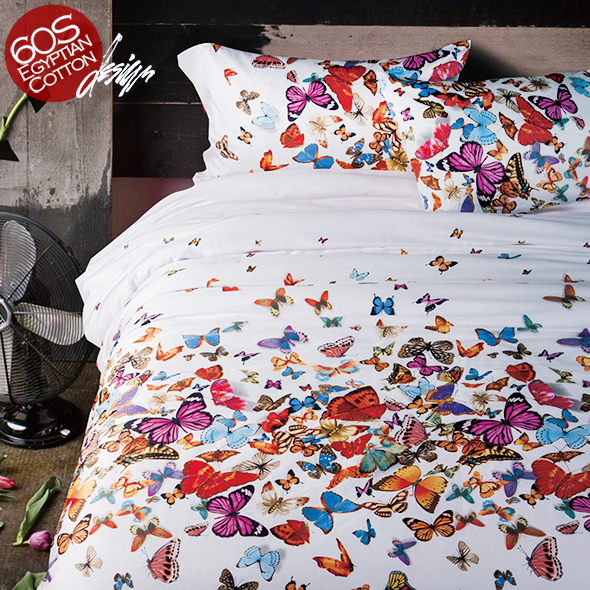 Bedding-Sets Air-Balloon Western Butterfly Bedsheet Duvet-Cover Quality Cotton 100%Egyptian