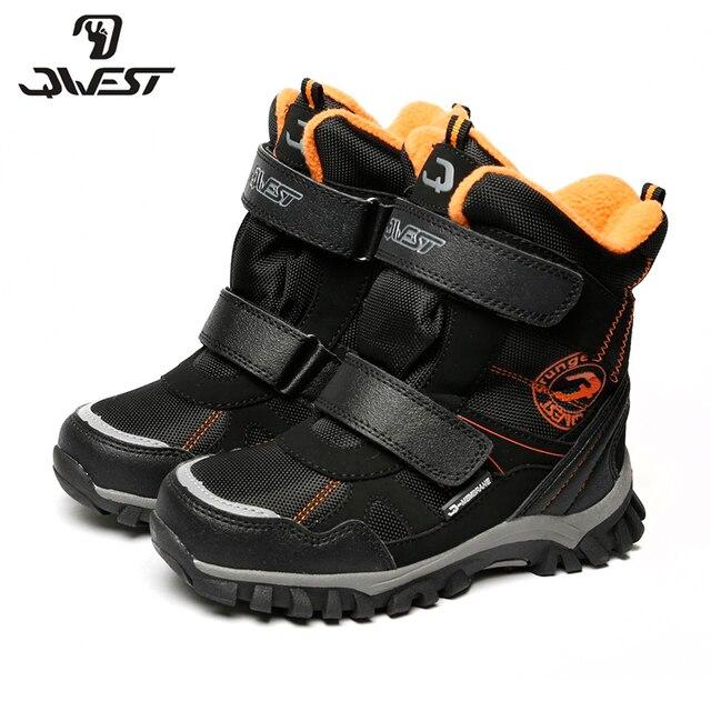 QWEST теплые молнии и шнуровке модные кожаные ботинки высокое качество Anti-slip обуви для мальчиков размер 35- 41 82WB-SP-0536