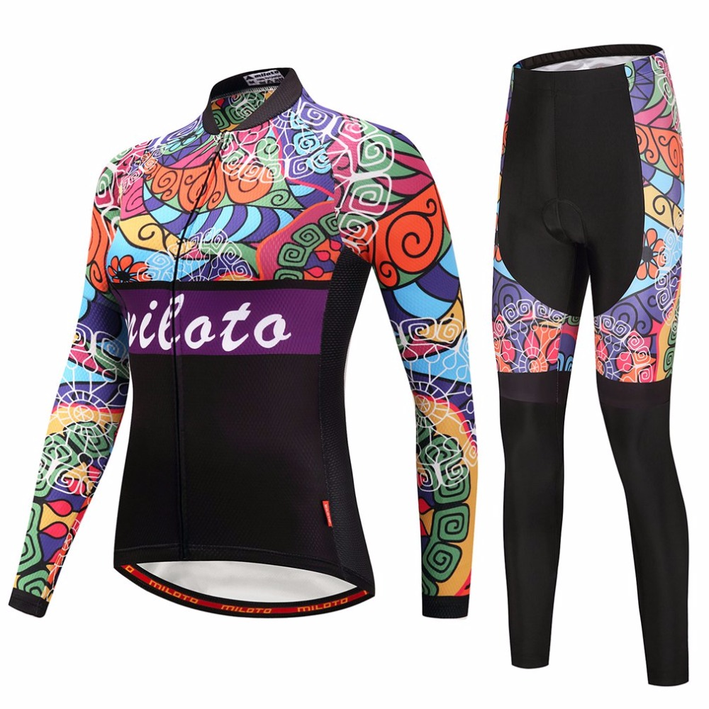 Reflective Womens Retro Cycling Long Sleeve Jersey & Compression Pants Set MTB Bike Jersey & Gel Padded Tights Suit XXS-5XL
