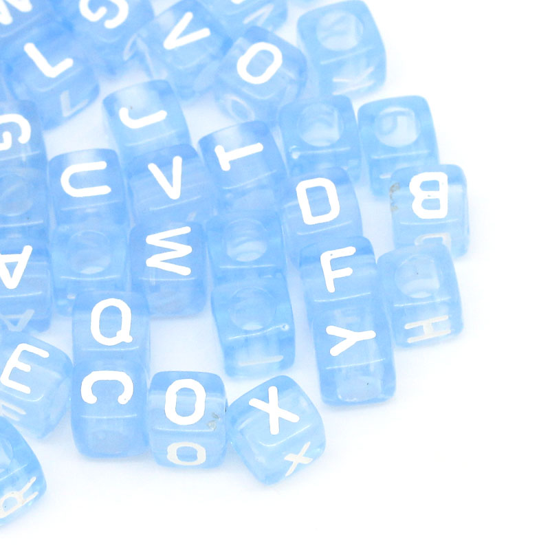 free shipping 300pcs acrylic spacer beads letters print cube blue 6x6mm for jewelry making over