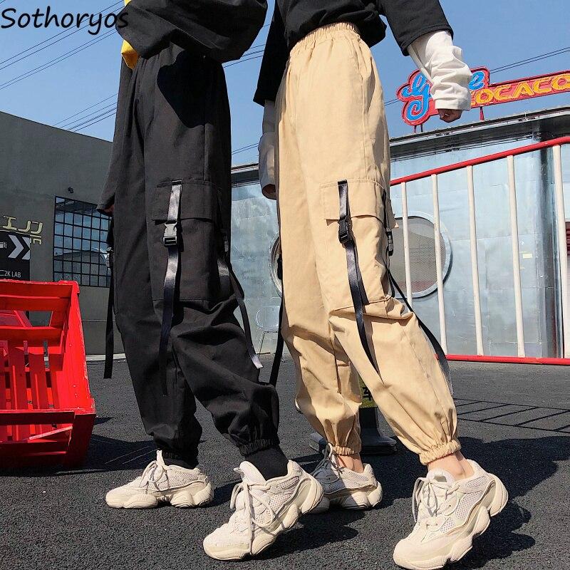 Calças Mulheres Carga Calças do Tornozelo-Comprimento de Alta Qualidade Macio Harajuku Estilo Coreano Das Mulheres Na Moda Sólidos Pockets Casual de Todos Os Coincidir com Novo