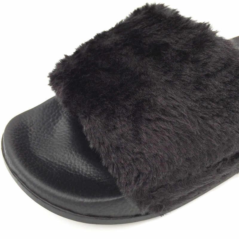 Пушистые Меховые Туфли женские шлепанцы модные шлепанцы Женская плюшевая зимняя обувь повседневная обувь на плоской подошве Белый Черный Chaussure Femme