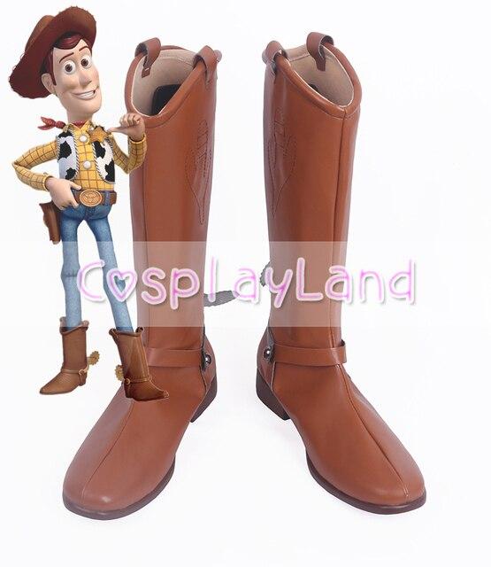 Toy Story Cosplay Traje Lenhosa Cowboy Botas Sapatos Superhero Halloween Party Feitos Sob Encomenda para Homens Adultos Sapatos Acessórios