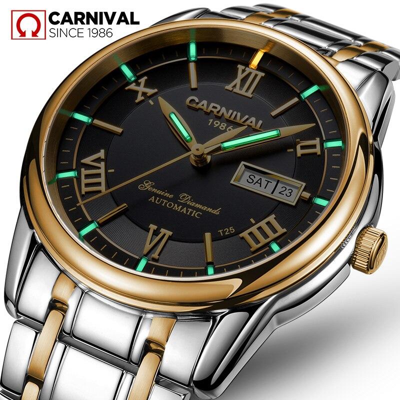 Carnival tritium T25 luminous Double calendar military automatic mechanical watch men luxury brand watches waterproof clock