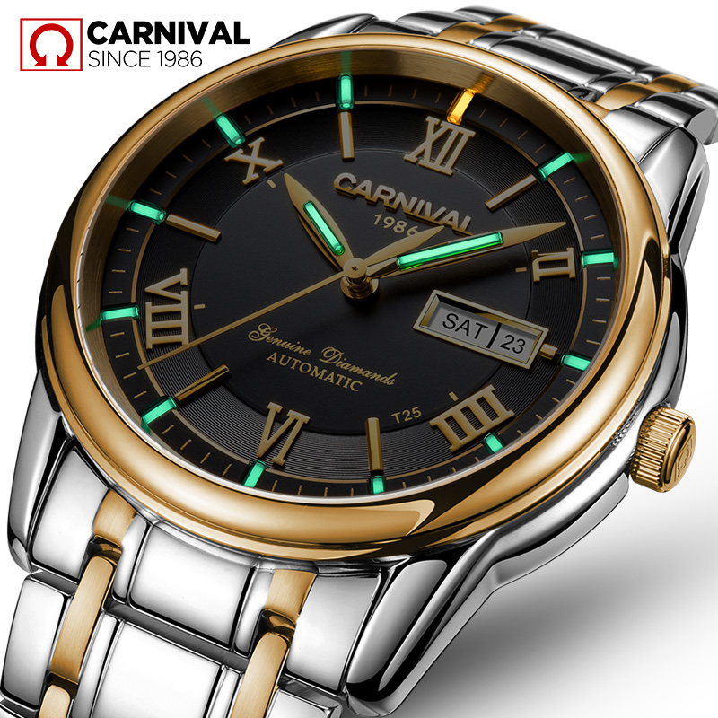 цена на Carnival tritium T25 luminous Double calendar military automatic mechanical watch men luxury brand watches waterproof clock