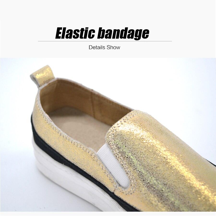 Gold Daim Cuir Creepers Chaussure Plate 8835 8835 Sneakers À Femmes Épaisses D'hiver 8835 Sur Chaussures Sliver Semelles Black En Femme Plat forme Appartements Véritable Glissement U6BWY8nfqW