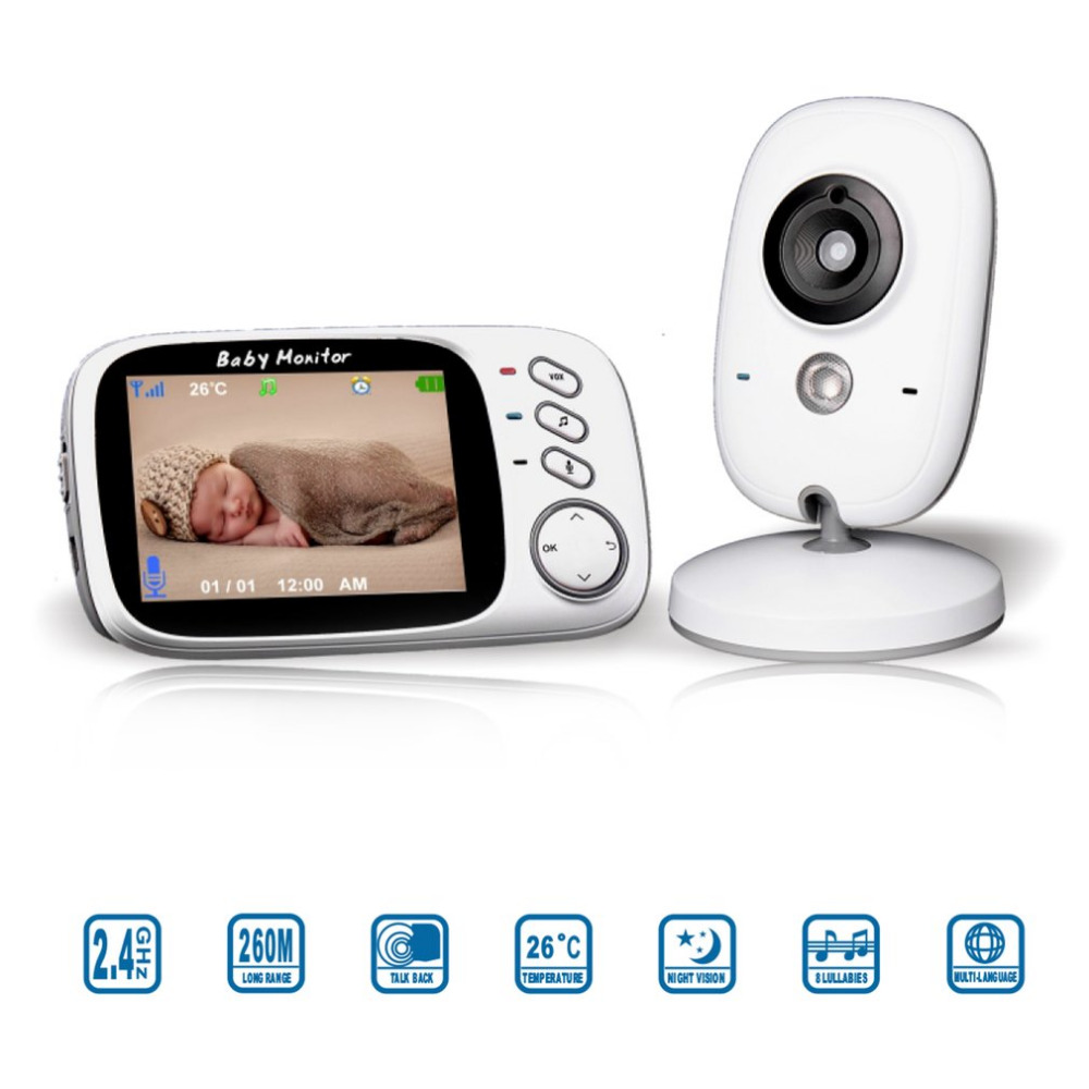 3.2 Inch Color LCD Wireless Digital Baby Monitor Night Vision Security Two Way Talk Back Temperature Monitoring VB603