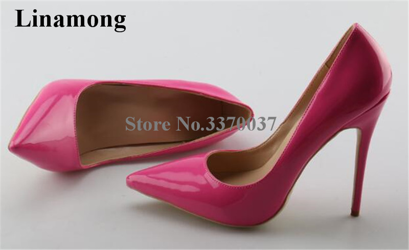 Factory Clearance Shoes Brand Style Women Pointed Toe 11cm Stiletto Heel Patent Leather Pumps Pink Red Gold Cheap Dress Shoe цена