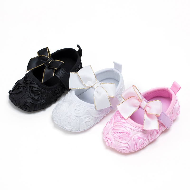 Spring Summer Kids Girls Vintage Fashion Lace Rose Flower Cute Bowknot Anti-skid Casual Baby Cack Shoes