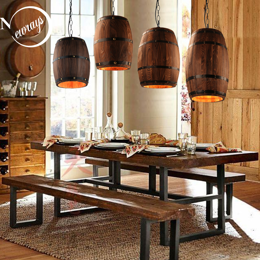American modern nature loft wood Wine barrel E27 hanging vintage pendant lights for dining room living