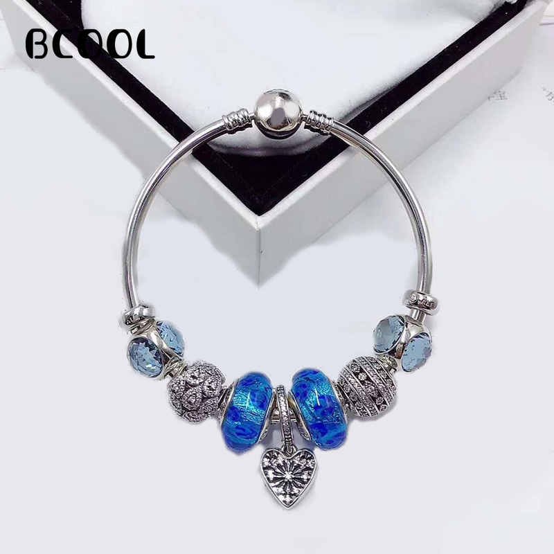 100%925 Sterling Silver Original 1:1, Fashionable Silver Bracelet, Suitable For Female Blue Love Crystal Beads Bracelet Jewelry100%925 Sterling Silver Original 1:1, Fashionable Silver Bracelet, Suitable For Female Blue Love Crystal Beads Bracelet Jewelry