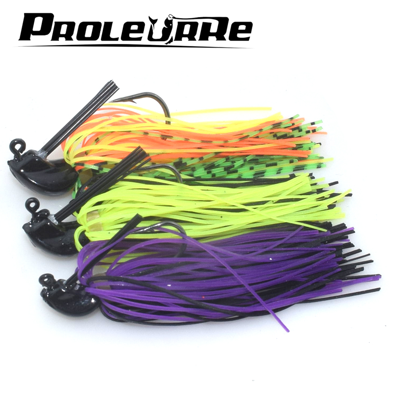 все цены на Proleurre Spinnerbait Fishing Lure Rubber Jig Compound Buzzbait 1Pcs Artificial Bass Fish Metal Bait Beard Pike Fishing Tackle онлайн