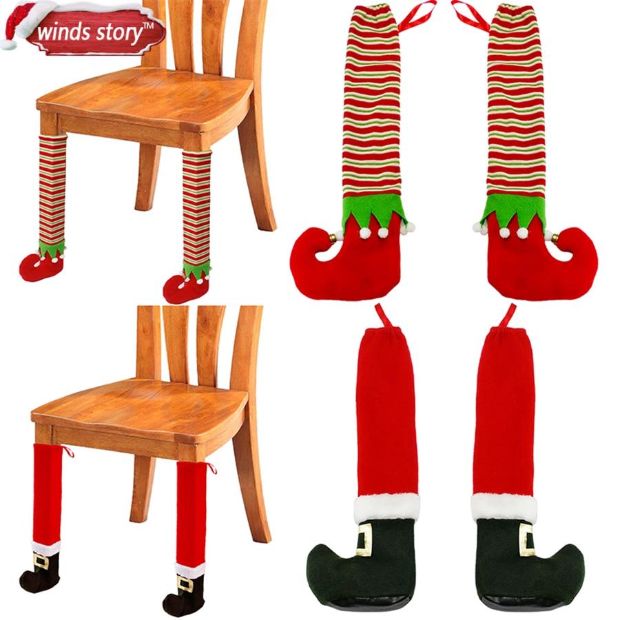 2pcs Christmas Santa Elves Shoes Table Chair Legs Feet