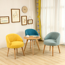 Nordic Fabric Lazy Sofa Casual Living Room Home Furniture Solid Wood Dining Chair Fashion Creative Personality