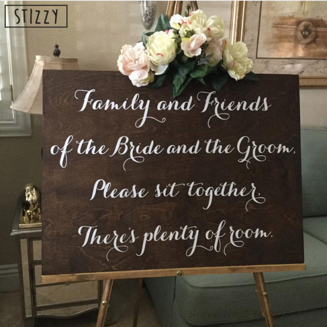 Stizzy wall decal wedding decoration quotes family and friends sit stizzy wall decal wedding decoration quotes family and friends sit sign vinyl wall sticker bride groom junglespirit Gallery