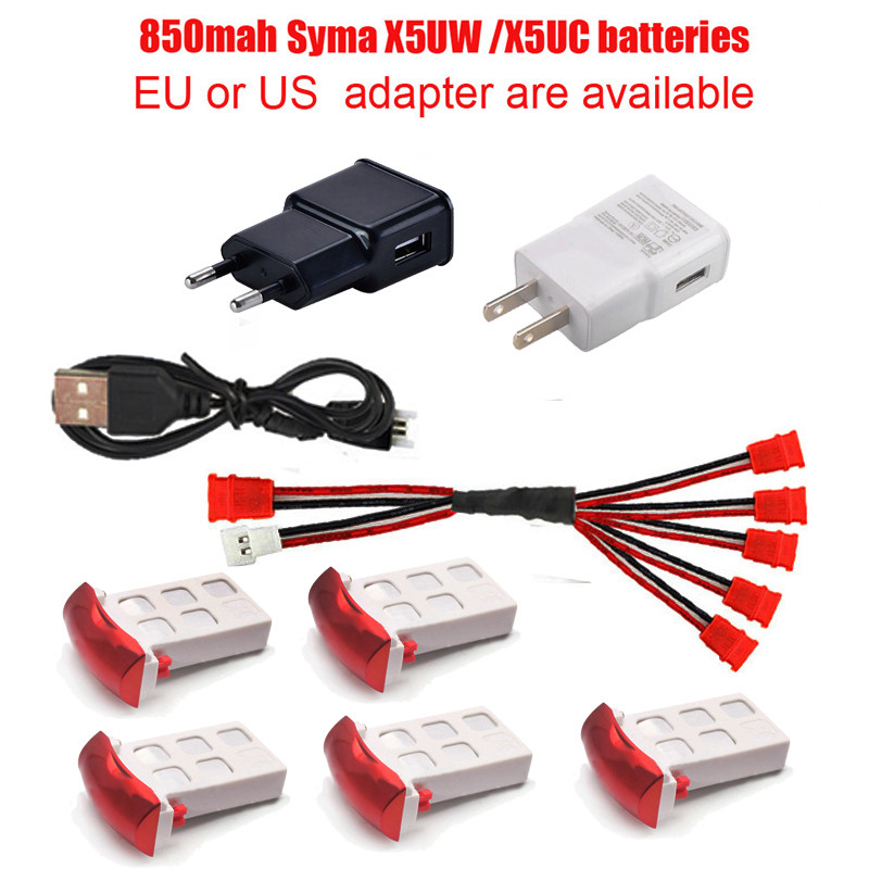 Syma X5UW X5UC RC Quadcopter Battery Capacity 3.7V 850mAh Li-po Battery RC Drone And Charger  5in1 Cable RC Drone Spare Parts