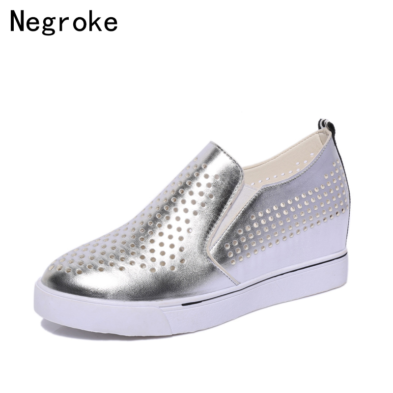2019 Fashion Women Wedge Casual Shoes Slip On Loafers Female Breathable Hollow Out Low Heel Platform Sneakers White Black Silver