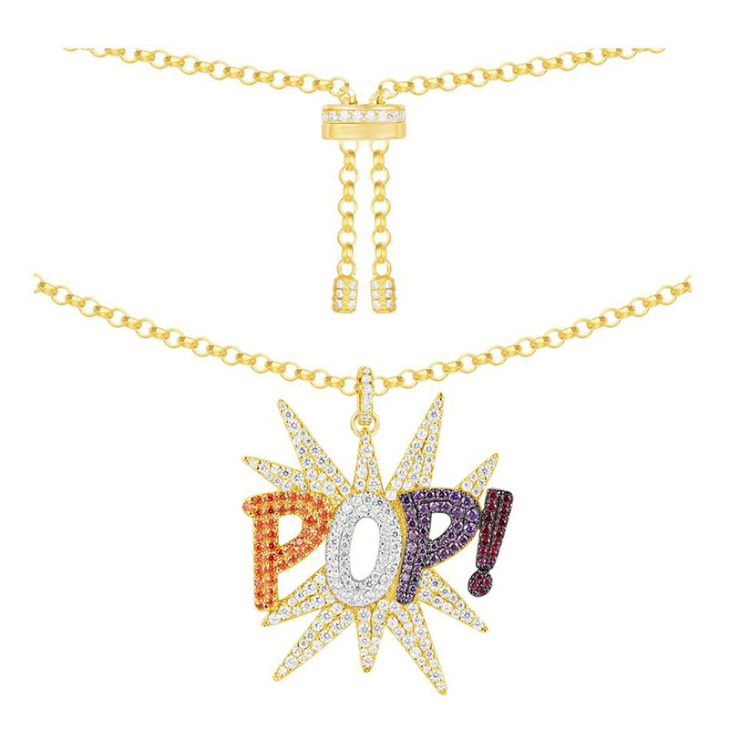 SLJELY 925 Sterling Silver Multicolor Zircon Charm Pop Pendant Necklace Yellow Gold Color Adjust Long Chain