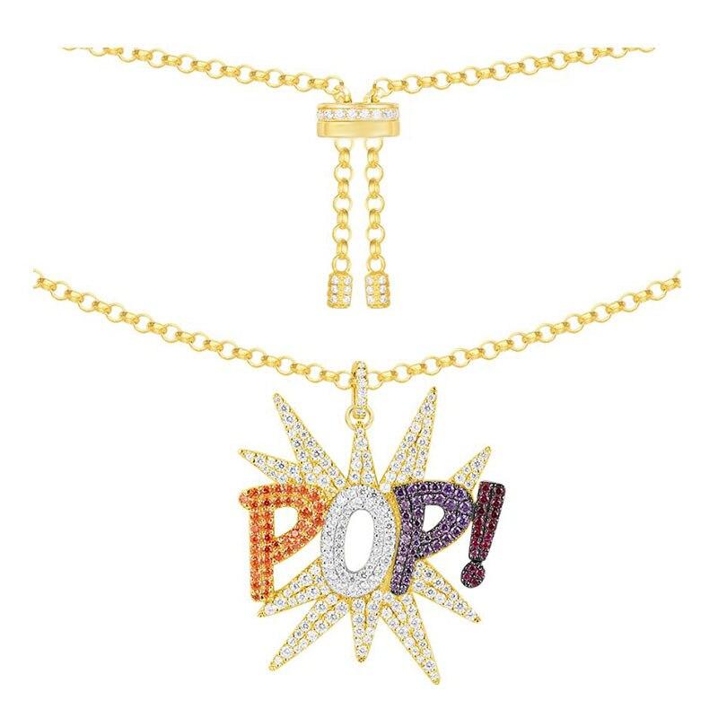 SLJELY 925 Sterling Silber Multicolor Zirkon Charme Pop Anhänger Halskette Gelb Gold Farbe Einstellen Lang Kette Frauen Monaco Schmuck-in Anhänger-Halsketten aus Schmuck und Accessoires bei  Gruppe 1