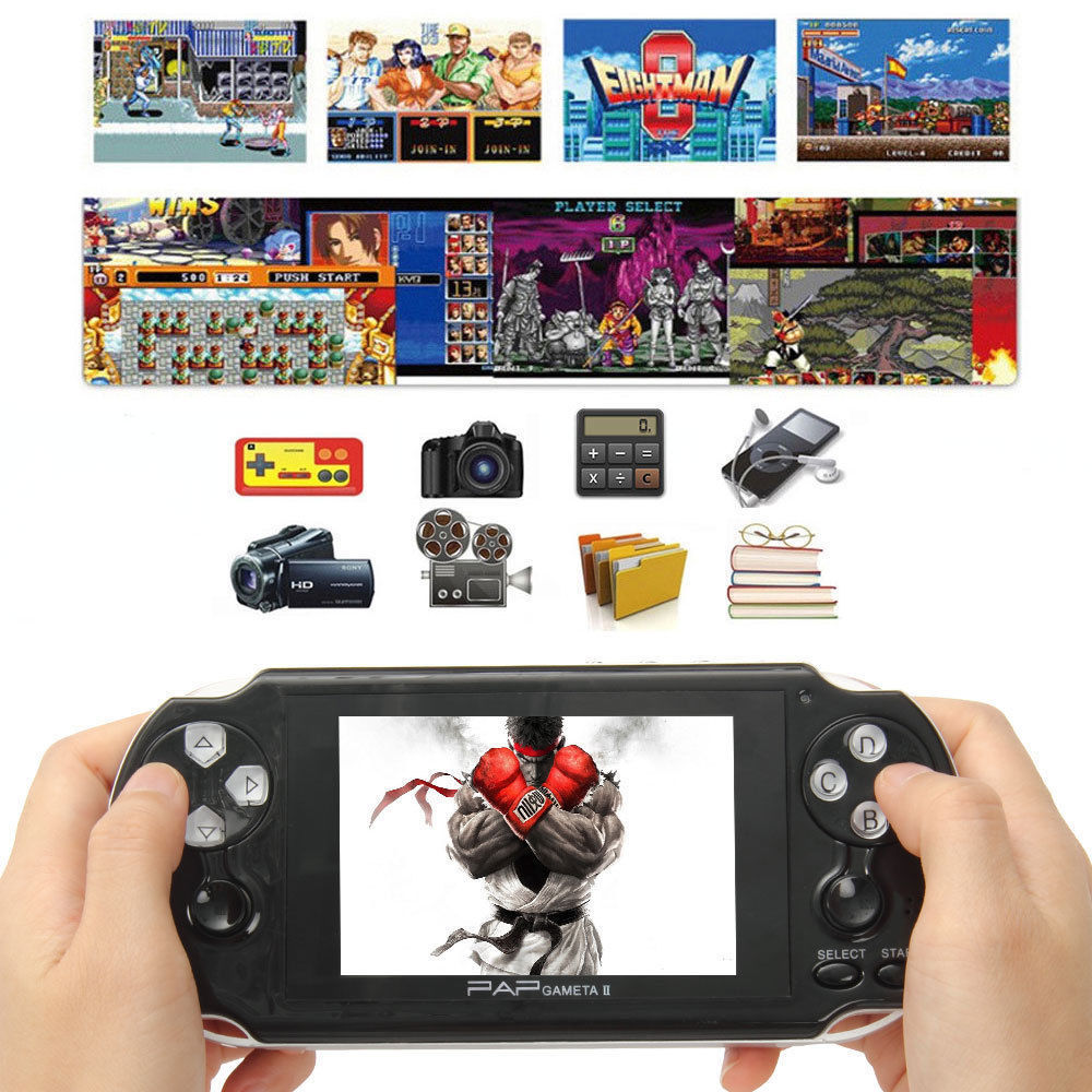 64Bit PAP Gameta II 4G HDMI Built-In 1000 Games MP4 MP5 Video Game Consoles Handheld Player ...
