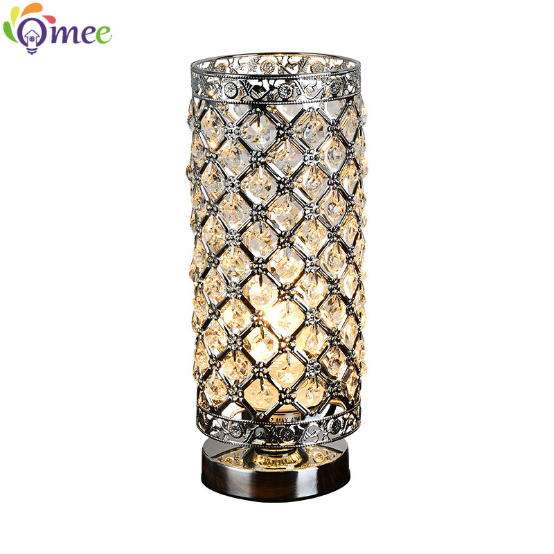 Modern Small Crystal Table Lamps Brief Bedroom Bedside
