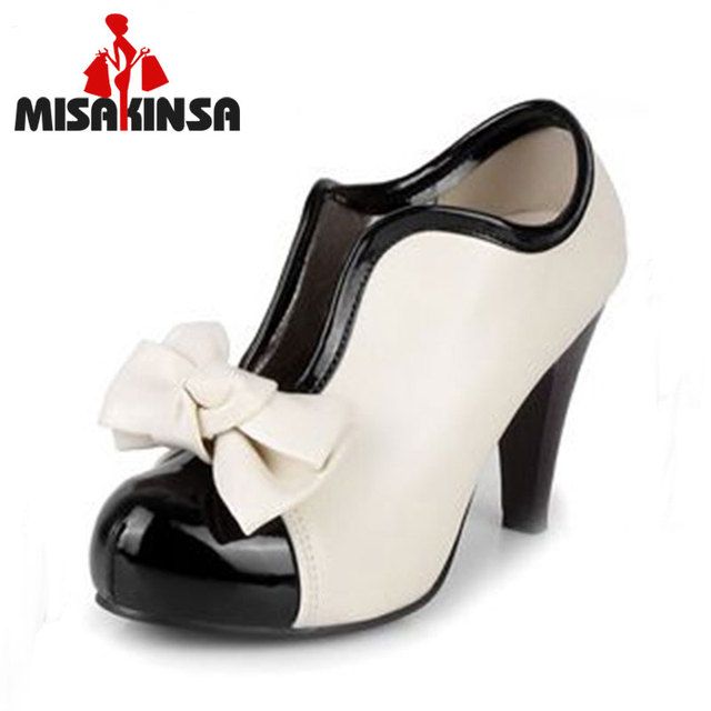 MISAKINSA women high heel shoes new sexy lady beige bow vintage bowknot  pumps platform round toe ladies H023 size 35-43