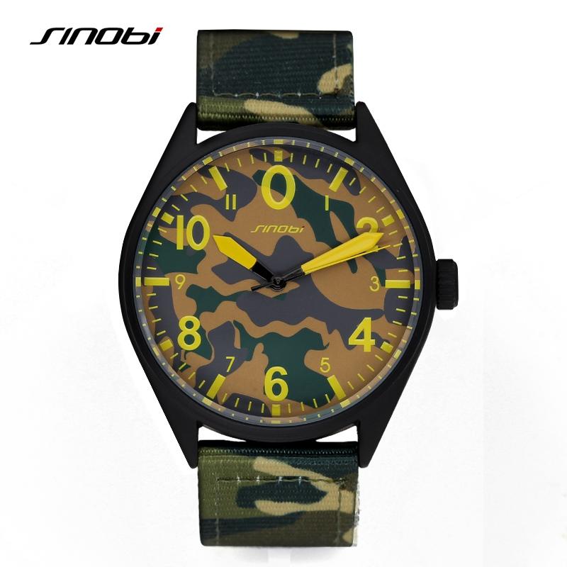 Prix pour SINOBI Militaire Camouflage Quartz montres pour Hommes Imperméable Sangle En Nylon de Sport de Course des Hommes Horloge Noir Relogio Masculino 2017