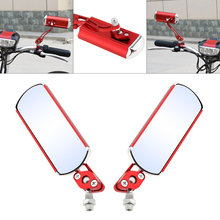 Motorcycle Side Rearview Mirror Aluminum Alloy Moto Electric Vehicle Handlebar Red Reflector for